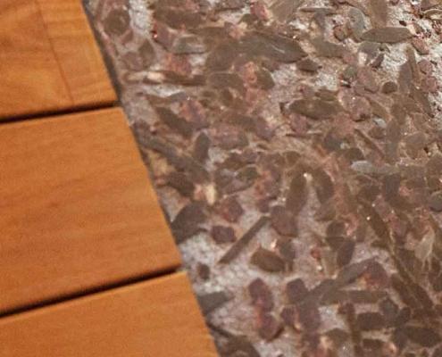 Naldi pavimenti, Showroom, Box doccia in legno e pietra